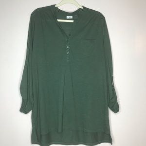 Cato hunter green henley tunic top XL